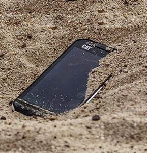 durable phone at a construction work